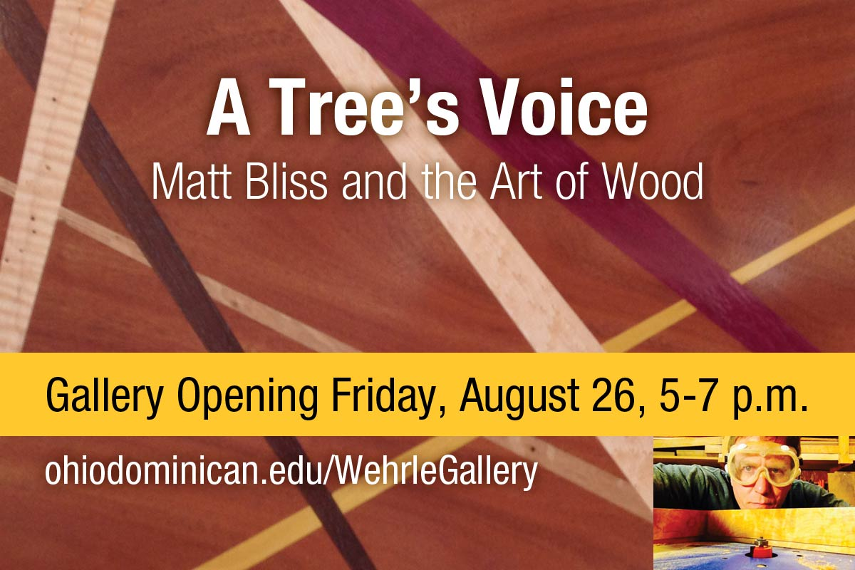 A Tree's Voice, Matt Bliss and the Art of Wood, new exhibit opening at the Wehrle Gallery on Friday, August 26, from 5 to 7 p.m.