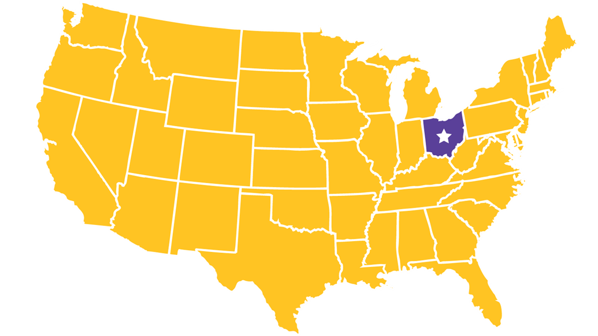 United States map highlighting Columbus in the center of Ohio.