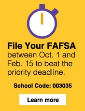 File your FAFSA between Oct. 1 and Feb. 15 to beat the priority deadline. ODU school code: 003035. Click here to learn more.