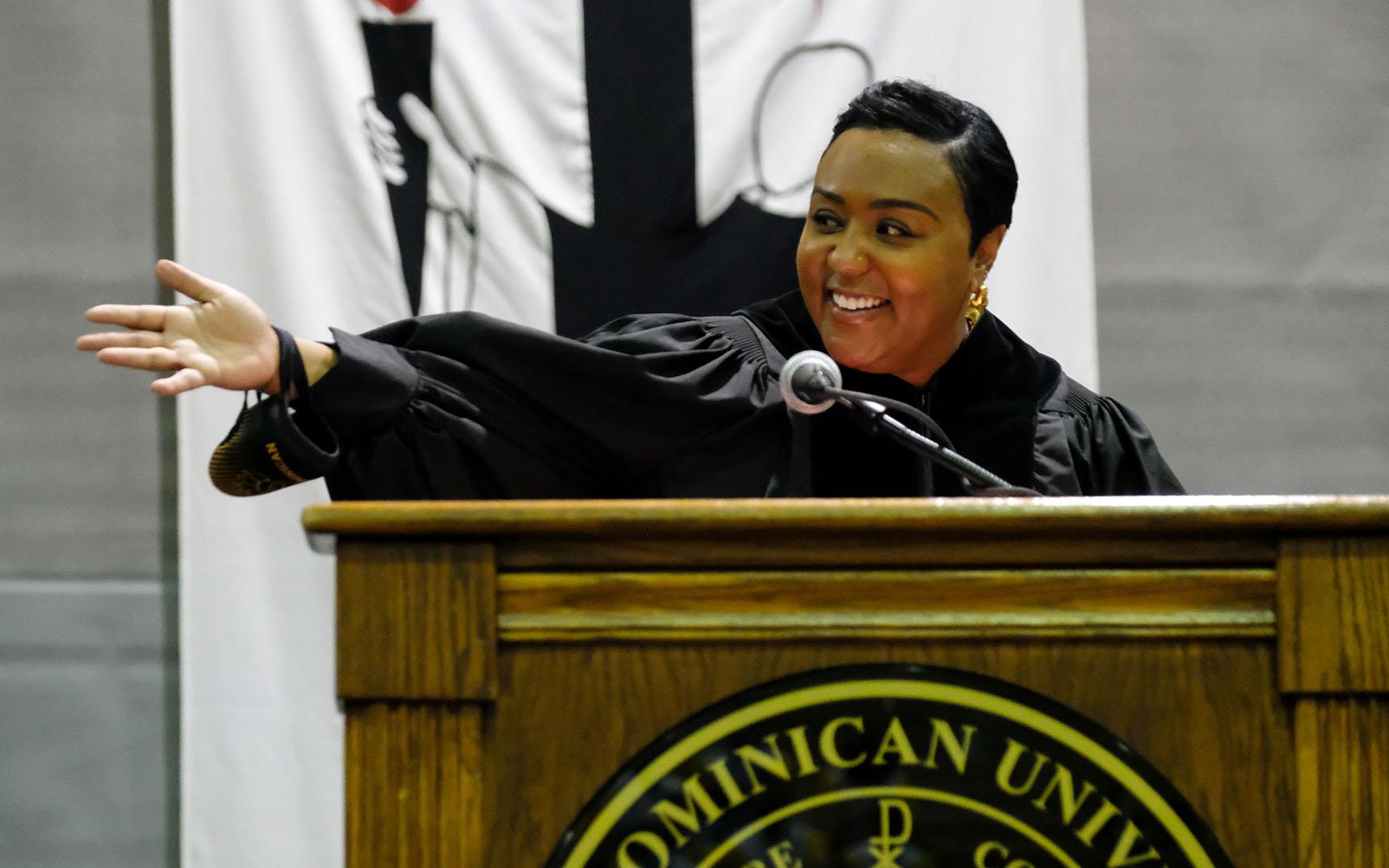 Achea Redd Speaks During Ohio Dominican University's 2021 Convocation