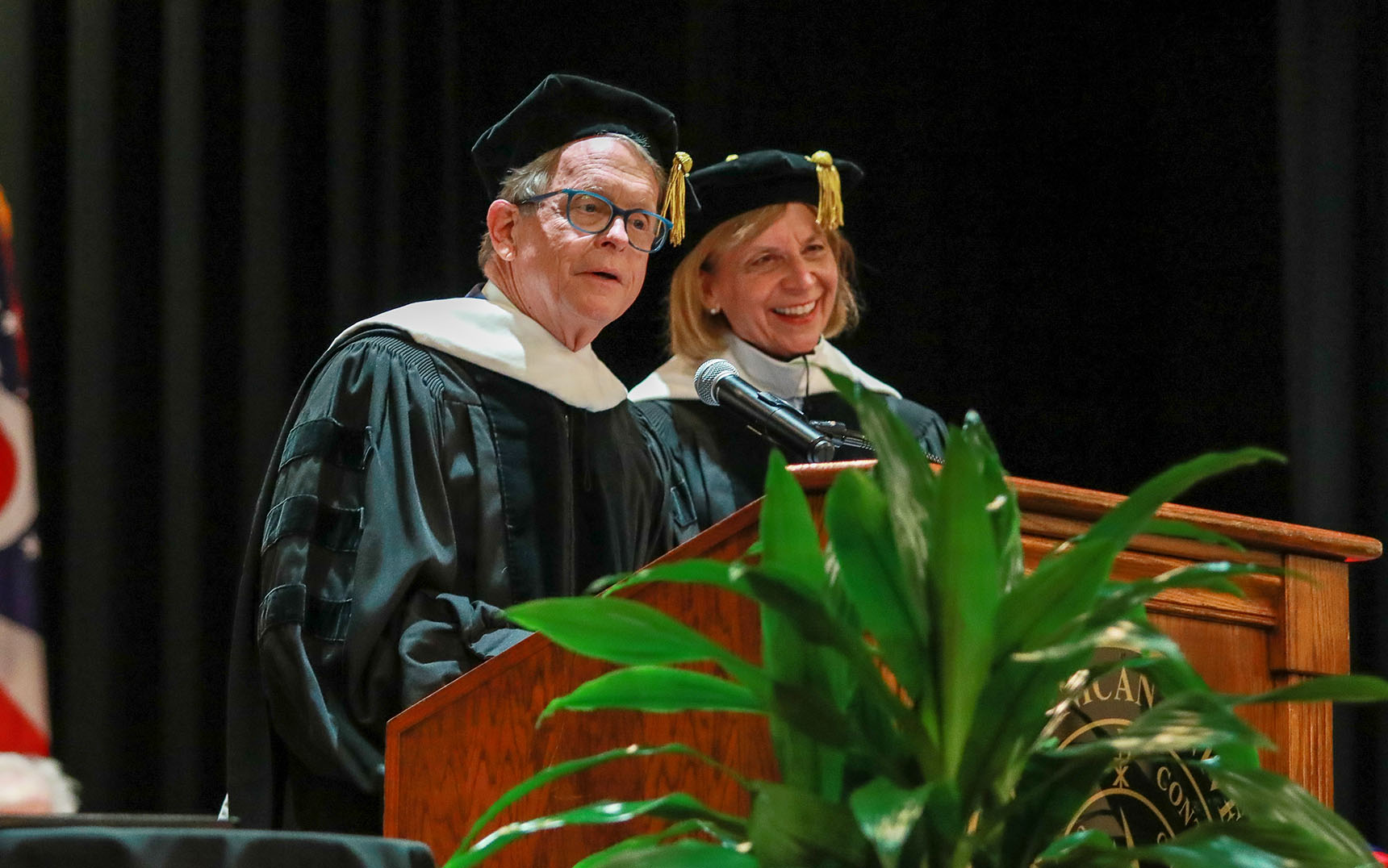 Governor Mike DeWine and First Lady Fran DeWine speak at Ohio Dominican University.