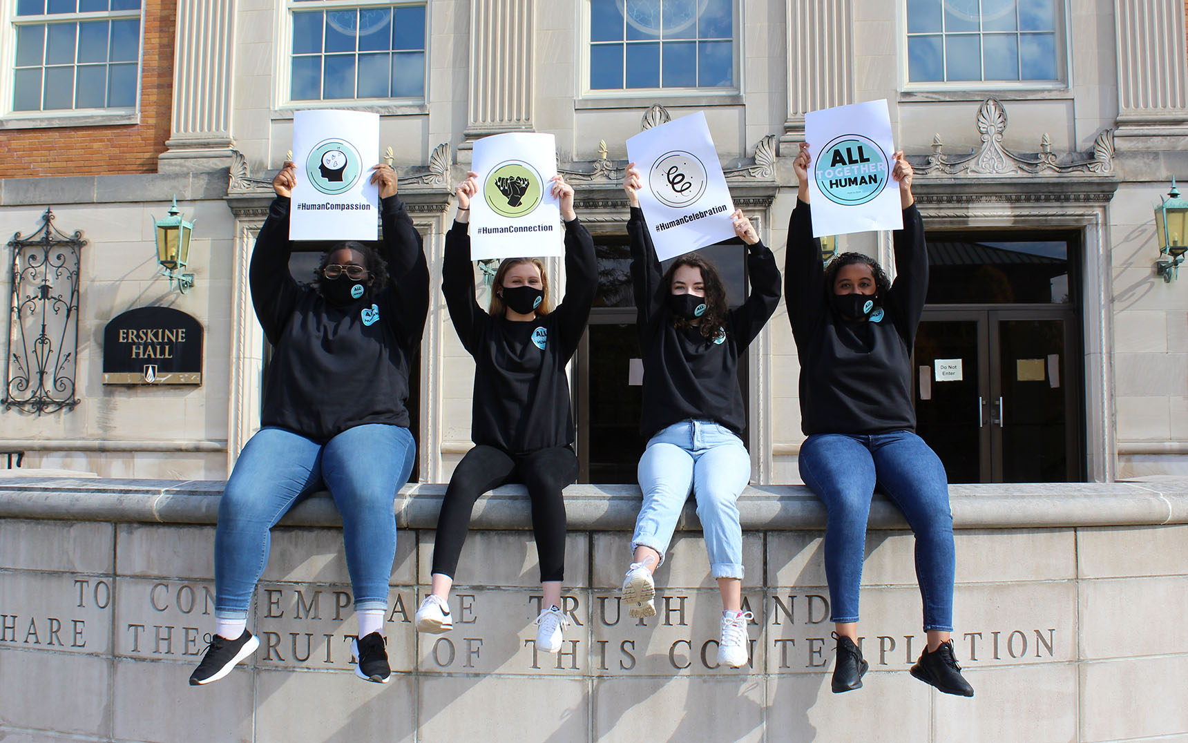ODU's Student PR Team Sits in Front of Erskine Hall