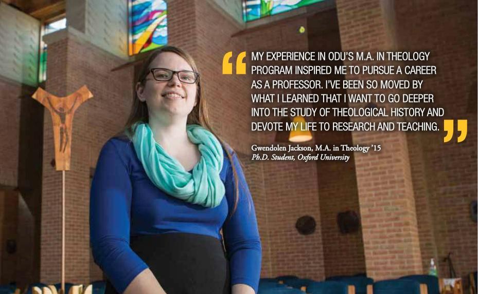 Gwendolen Jackson found her purpose in ODUs MA in Theology Program